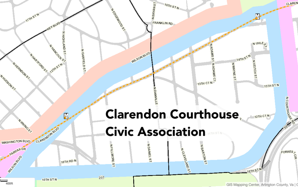 Clarendon Courthouse Civic Association Map